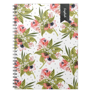 Hand Painted Floral Poppies Notebook