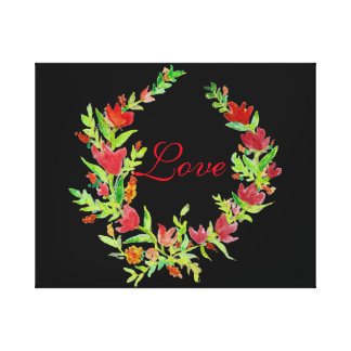 Hand-Painted Floral Wreath on Canvas