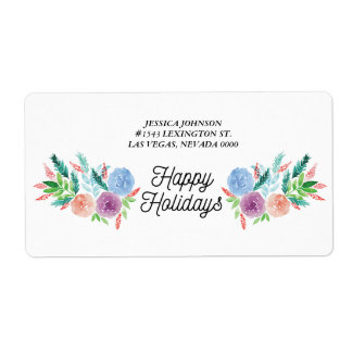 hand-painted flowers Address Label
