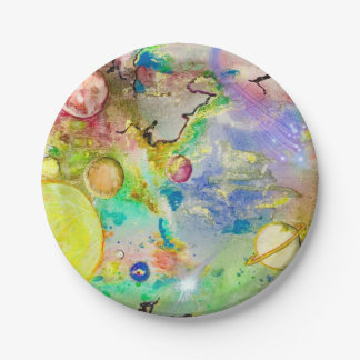 Hand Painted Galaxy Paper Plates