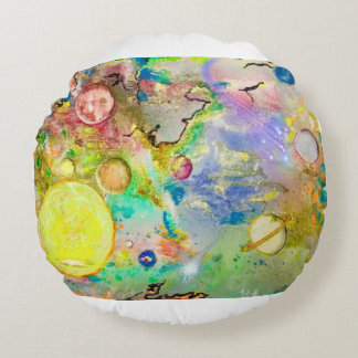 Hand Painted Galaxy Round Throw Pillow