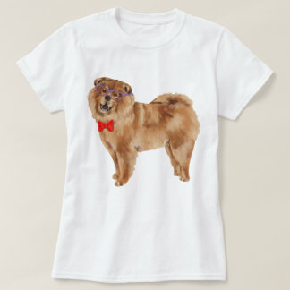 Hand-painted Hipster Chow Chow Dog T-Shirt