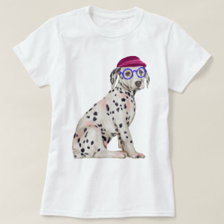 Hand-painted Hipster Dalmatian Spotted Dog T-Shirt