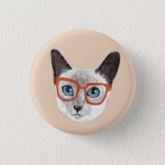 Hand-painted Hipster Siamese Cat Wearing Glasses 1 Inch Round Button