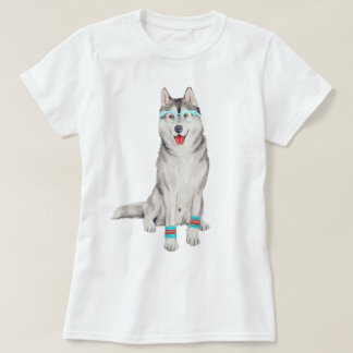 Hand-painted Hipster Siberian Husky Dog T-Shirt