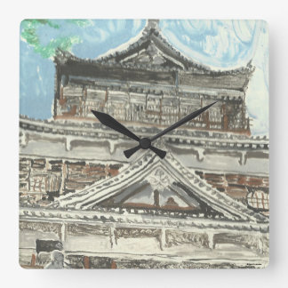 Hand Painted Hiroshima Castle Japan Square Clock