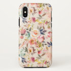 Hand painted ivory pink brown watercolor flowers iPhone x case