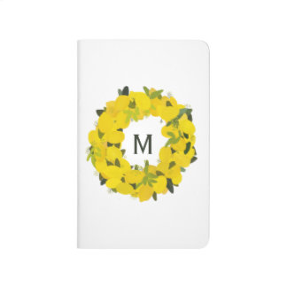 Hand Painted Lemon Wreath Monogram Journal