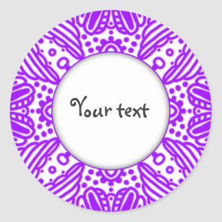 hand painted lilac doodle ornament frame classic round sticker