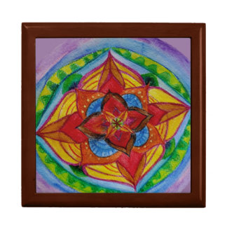 Hand painted mandala Tile Gift Box, Golden Oak Gift Box