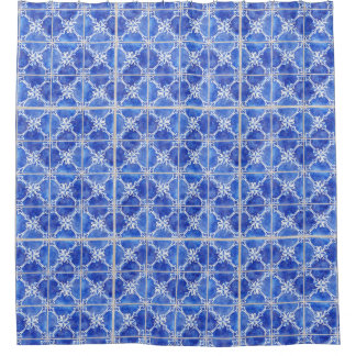 Hand Painted Moroccan Vintage Blue White Tile