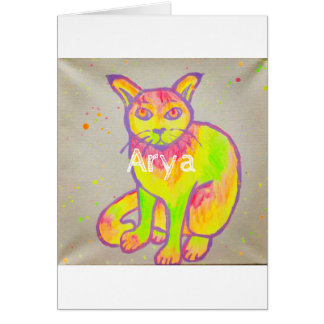 Hand Painted Neon Cat Greeting Card
