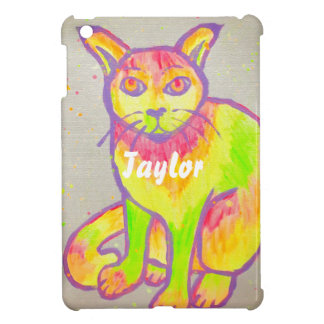 Hand Painted Neon Cat iPad Mini Case