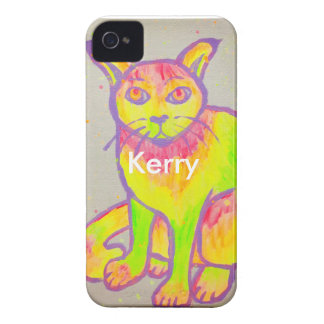 Hand Painted Neon Cat iPhone 4 Case