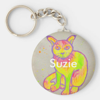 Hand Painted Neon Cat Keychain