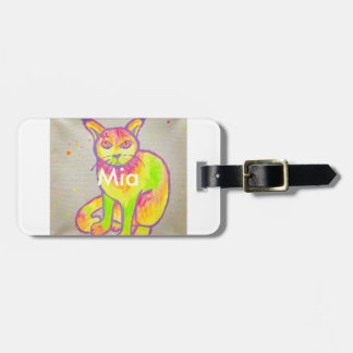 Hand Painted Neon Cat Luggage Tag