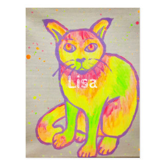 Hand Painted Neon Cat Postcard