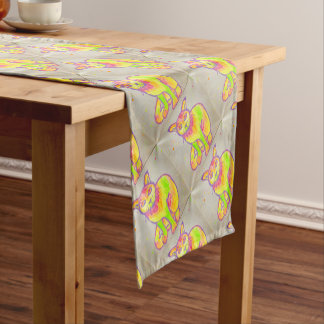 Hand Painted Neon Cat Table Runner