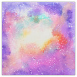 Hand painted pastel watercolor nebula galaxy stars fabric