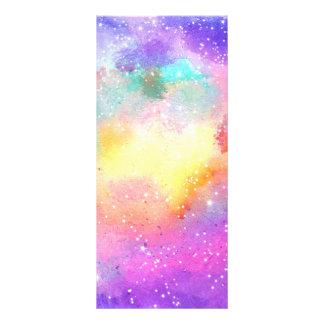 Hand painted pastel watercolor nebula galaxy stars rack card design