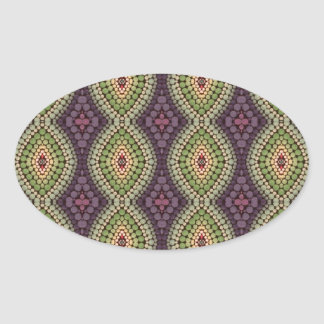 Hand-painted pattern oval sticker