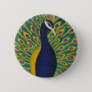 Hand Painted Peacock 2 Inch Round Button