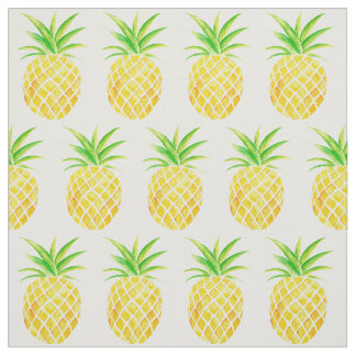 Hand Painted Pineapple Watercolor Repeat Pattern Fabric