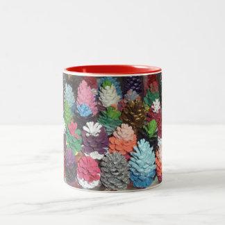 Hand-Painted Pinecones Two-Tone Mug