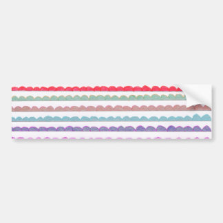 Hand painted pink blue modern scallop pattern bumper sticker