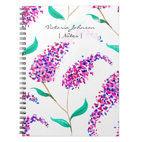 Hand painted pink purple watercolor lilac flowers notebooks