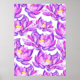Purple lotus flower posters prints poster printing zazzle ca hand painted pink purple watercolor lotus flowers poster mightylinksfo