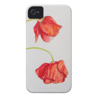 Hand painted red poppies flowers iPhone 4 cover