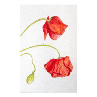 Hand painted red poppies flowers stationery design