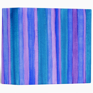 Hand-Painted Stripes: Teal, Blue, Purple 3 Ring Binder