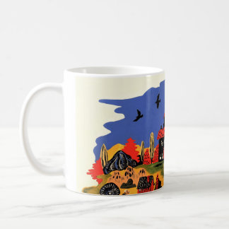 hand painted traditional folky coffee mug