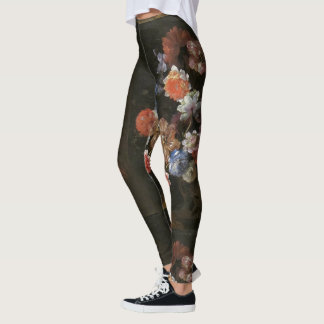 Hand Painted Vintage Flowers Bouquet Black Legging