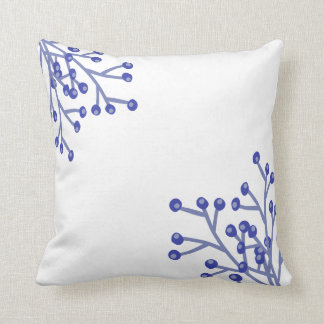 Hand Painted Watercolor Blueberry Throw Pillow
