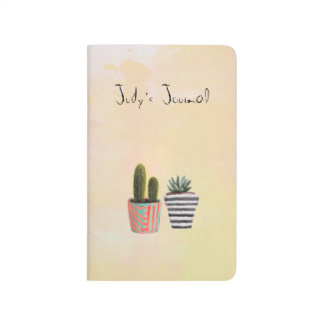 Hand Painted Watercolor Cactus Journal