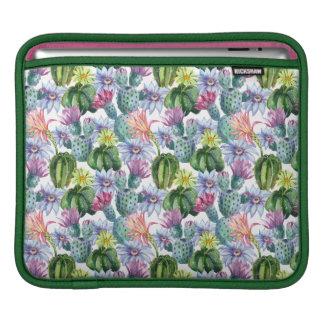 Hand Painted Watercolor Cactus Pattern iPad Sleeve