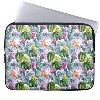 Hand Painted Watercolor Cactus Pattern Laptop Sleeve