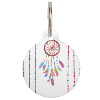 Hand Painted Watercolor Dreamcatcher Beads Feather Pet Tag