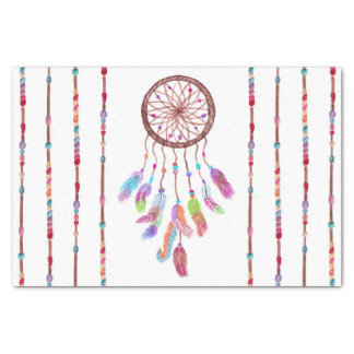 Hand Painted Watercolor Dreamcatcher Beads Feather Tissue Paper
