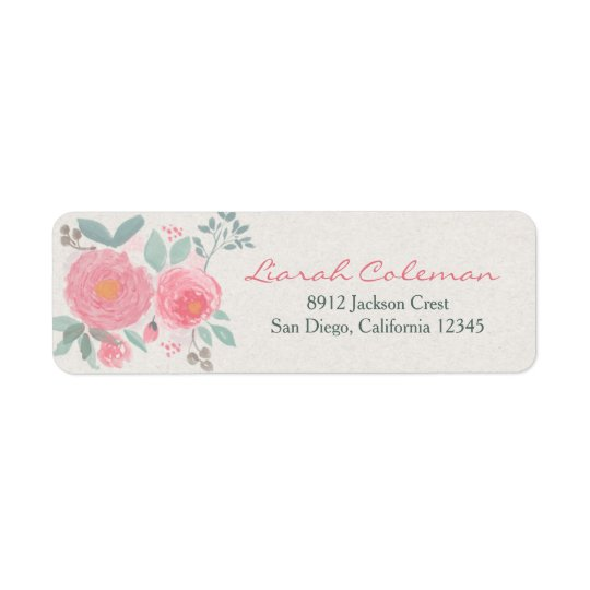 Hand painted watercolor floral return address return address label