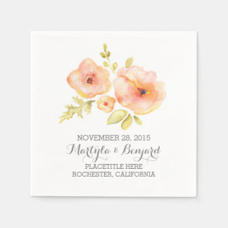 hand painted watercolor floral wedding paper napkin