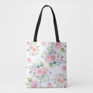 Hand painted Watercolor Flowers Custom Monogram Tote Bag