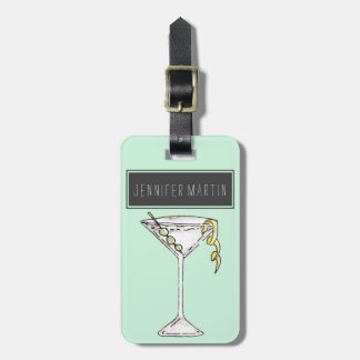 Hand Painted Watercolor Olive Martini Cocktail Luggage Tag
