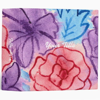 Hand-Painted Watercolor Red Roses Purple Clematis Vinyl Binder