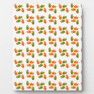 Hand Pattern green orange Plaque