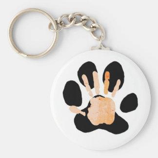hand paw print basic round button keychain