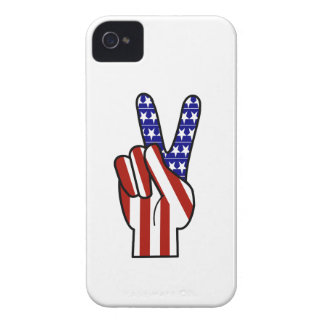 Hand Peace Sign - Red White & Blue iPhone 4 Covers